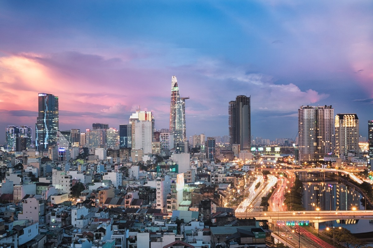 Ho Chi Minh City in Vietnam during sunset